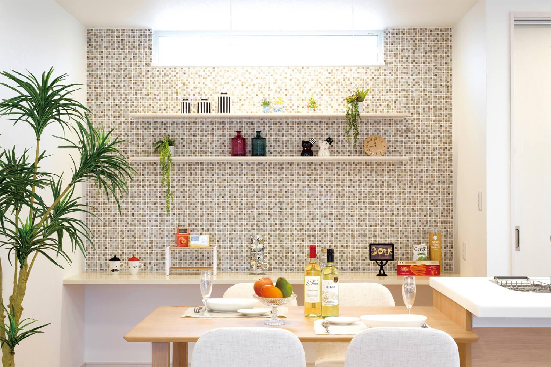 キッチン ブロックタイル